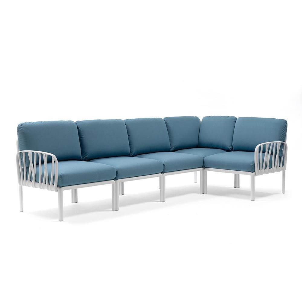 KOMODO TEAL/WHITE 5PC MODULAR OUTDOOR SOFA Lounge & Living